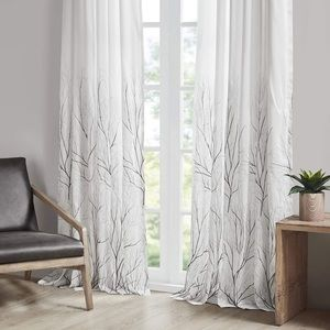 Madison Park White Gray Ombré Branch Curtains